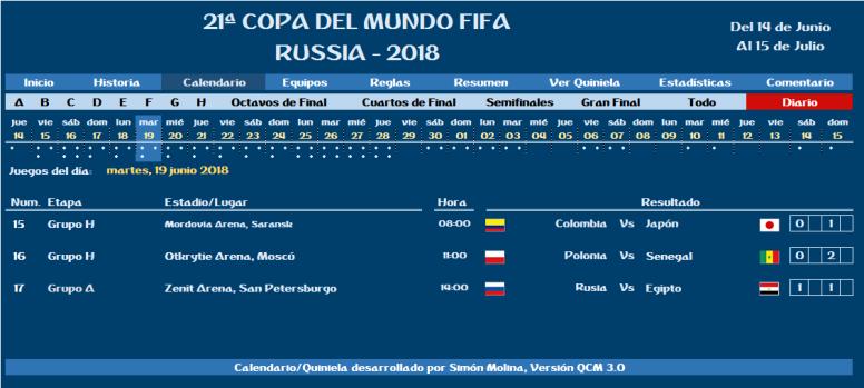COPA MUNDIAL RUSIA 2018 – Fixture | Quinielas en Excel